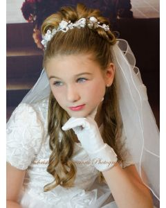 First Communion Bun Wrap Veil with Roses