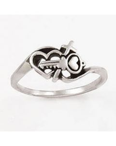 Sterling Silver Ladies' Christian Ring - Cross Key/Heart