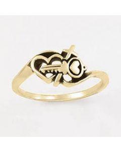 14k Gold Ladies Christian Wedding Ring Wedlock Key heart cross