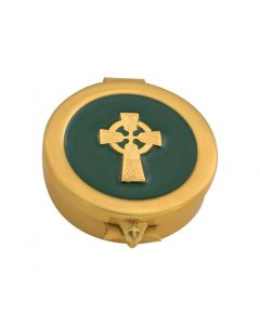 Communion Pyx with Green Inset and Irish Celtic Cross 8 Cap