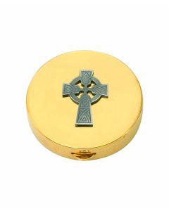 Communion Pyx with Pewter Irish Celtic Cross 7 Host Cap