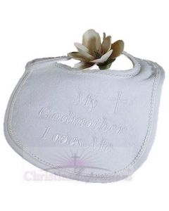 "Terry Velour ""My Godmother Loves Me"" Christening Bib"