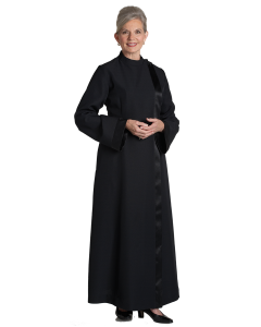 Women's Black Clergy Alb with Satin Banding