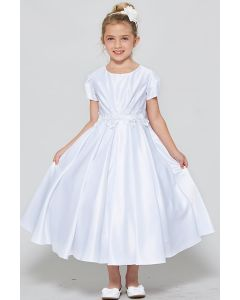 Satin First Communion Dress with Short Sleeves