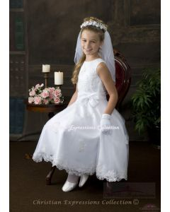 Beaded Organza First Communion Dress with Bow