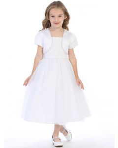 First Communion Dress with Beading and Bolero Jacket