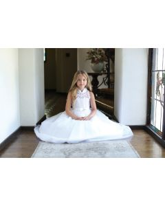 First Communion Dress with High Neck Halter Bodice