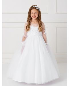 Long Sleeves Holy Communion Dress with Detachable Train