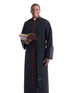 Bishop Cassock Black with Scarlet Piping