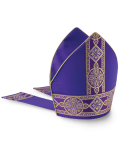 Bishop's Mitre Purple with Fleur Banding