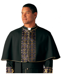 Radiance Brocade Black Clergy Shoulder Cape