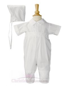 Boys One Piece Christening Romper with Pin Tucking