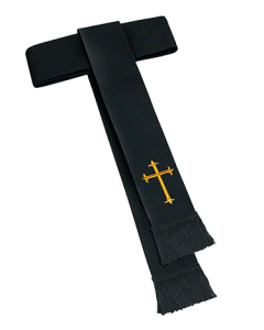 Black Clergy Cincture with Latin Cross