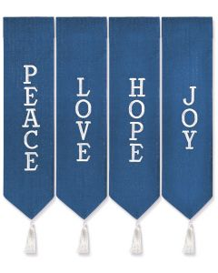 Blue with White Thread Advent Wreath Banners