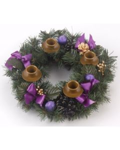 Christmas Advent Wreath with Purple Ribbons