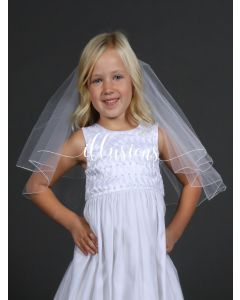 Circular First Communion Veil with Corded Edge -3 Sizes Available