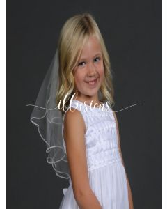 Circular First Communion Veil with Pearl Edge -3 Sizes Available