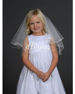 Circular First Communion Veil with Rattail Edge -3 Sizes Available