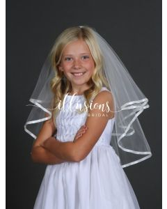 Circular First Communion Veil with Ribbon Edge-3 Sizes Available