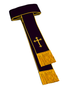 Black Clergy Cincture with Gold Corded Piping