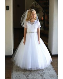 Long Length First Communion Dress with Silver Beading