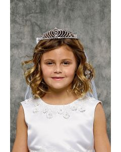 First Communion Veil and Tiara with Crosses