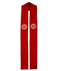 Cross and Flames IHS Clergy Stole or Deacon Stole