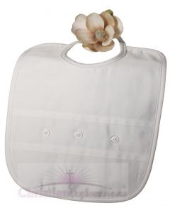 Boys Cotton Sateen Christening Bib with Buttons