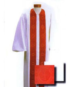 Custom Tailored White Pulpit Robe with Red Brocade Panels