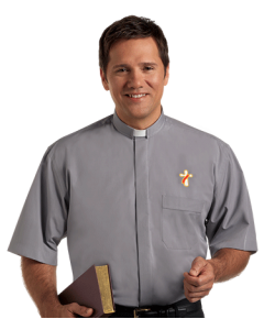 Deacon Tab Collar Clergy Shirt with Short Sleeves