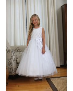 Lace First Communion Dress with Handsewn Beads