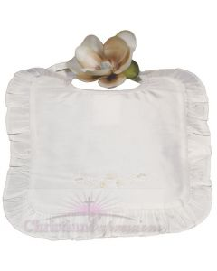 Girls Silk Dupioni Christening bib with ruffles