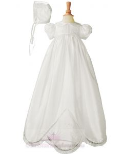 Girls Silk Dupioni Christening gown Style Madelyn