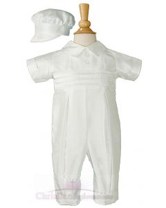 Boys Dupioni Silk Christening Coverall