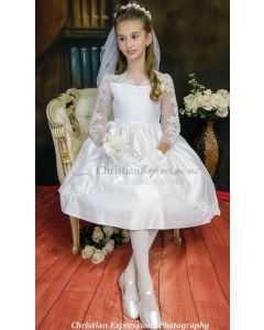 Satin and Organza Long Sleeve First Communion Dress