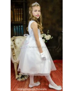 Sweet and Simple Crochet Bodice First Communion Dress