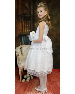 Girls Embroidered First Communion Dress Tea Length