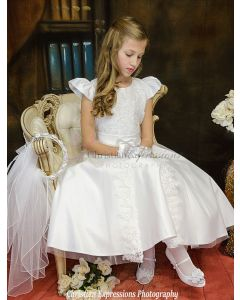 Satin Tea Length First Communion Dress with Split Skirt