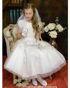 Short Sleeve First Communion Dress with Organza Beading and Rhinestone Accents