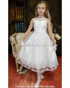Organza and Satin First Communion Dress with Sweetheart Neckline and Rhinestone Accents
