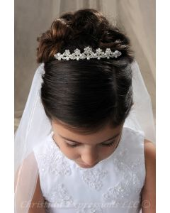 First Communion Tiara with Pears and Crystals