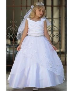 Embroidered Organza Layered First Communion Dress