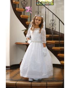 Embroidered Taffeta First Communion Dress