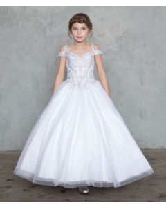 Off Shoulder First Holy Communion Ball Gown