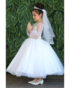 First Communion Gown with Balloon Sleeves