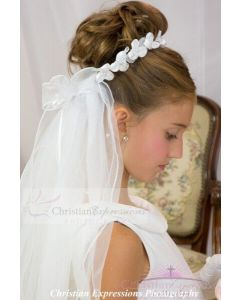 First Communion Bun Wrap Veil with Satin Rosettes