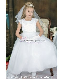 First Communion Dress Satin with Hand-Sewn Pearls