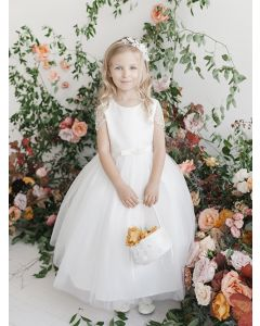 First Communion Dress with Bead Sleeves
