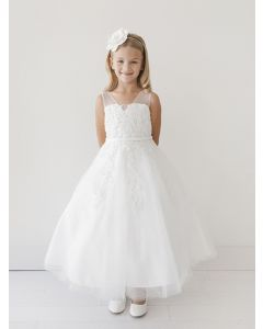 First Communion Dress Lace Overlay Bodice Tulle Skirt