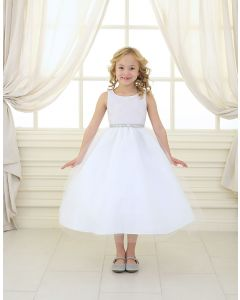 First Communion Dress Shiny Accent Trim Tulle Skirt
